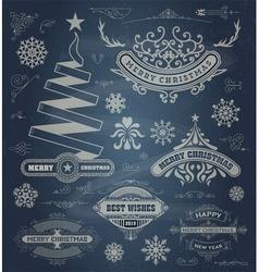 Christmas decoration design elements Merry vector image