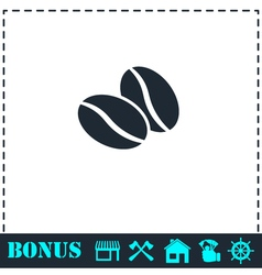Coffee beans icon flat vector
