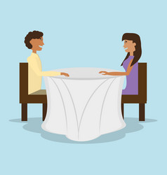 Couple sitting in restaurant table vector