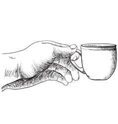 Cup of coffee hot drink in the hand vector