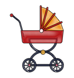drawing baby carriage wheel decoration vector image
