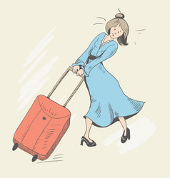 Girl and baggage vector