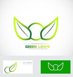 Green leafs bio logo organic badge vector