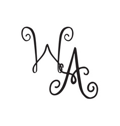 Handwritten monogram wa icon vector