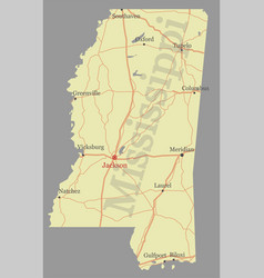 mississippi accurate exact detailed state map vector image vector image