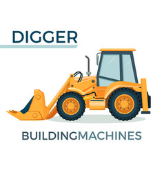 Modern solid building machine digger with spacious vector