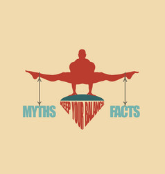 myths and facts balance concept of the scales vector image vector image