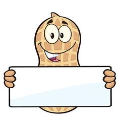 Peanut cartoon holding a sign vector