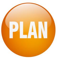 Plan orange round gel isolated push button vector