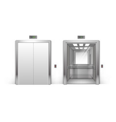 realistic metal office building elevator doors vector image