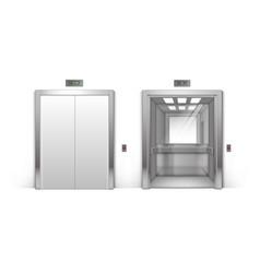Realistic metal office building elevator doors vector