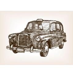 Retro taxi cab hand drawn sketch vector image