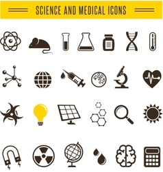 Scientist pack - Research Bio and chemistry icons vector image