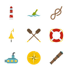 sea icons set flat style vector image vector image