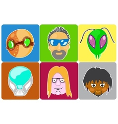 Set from 6 icons of avatars vector