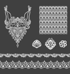 set of decorative lace elements vector image
