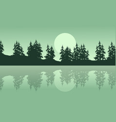 silhouette of lake with spruce scenery vector image vector image