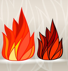 Stained glass style fire set vector image vector image