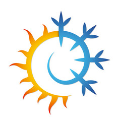 Sun and snowflake for air conditioning vector