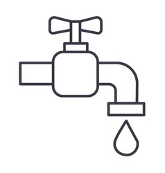 tap water line icon sign on vector image