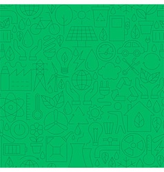 Thin line green power eco seamless pattern vector