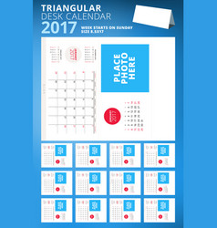 Triangular desk calendar planner for 2017 year vector