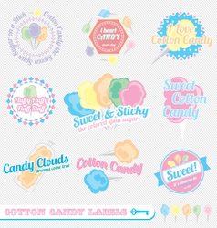 Cotton candy labels vector