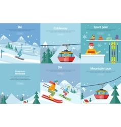 Set of winter leisure flat style banners vector