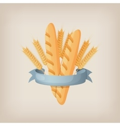 Baguettes with ears and ribbon bakery sign or vector