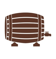 Silhouette with liquor barrel in brown color vector