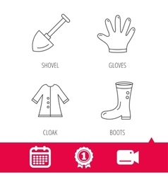 Shovel boots and gloves icons vector