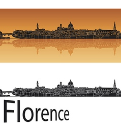 Florence skyline in orange background vector