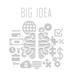 Big idea concept with brain on white background vector