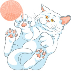 Cute white cat playing with a ball of yarn vector