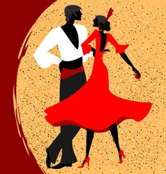 Couple of flamenco dancers vector