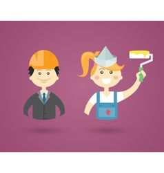 Professions- engineer and interior decorator vector