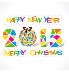 Colorful new year 2015 and merry christmas design vector