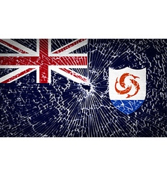 Flags anguilla with broken glass texture vector