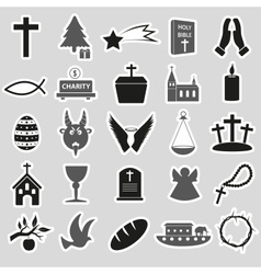 Christianity religion symbols set of stickers vector