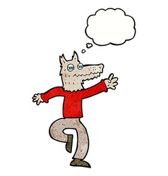 Cartoon happy wolf man with thought bubble vector