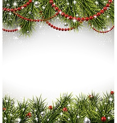 Christmas background with spruce branches vector