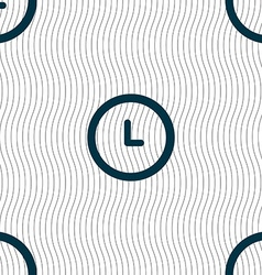 Clock icon sign seamless pattern with geometric vector