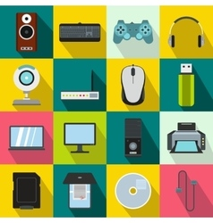 Computer icons set flat style vector image