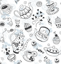Teapots and cups background vector