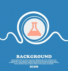 Conical flask sign icon blue and white abstract vector