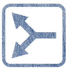 Bifurcation arrow left fabric textured icon vector