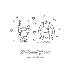 Bride groom icons wedding couple signs love line vector