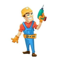 Builder man with smile face holding drill in hand vector