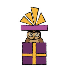 Christmas owl in gift box surprise present with vector