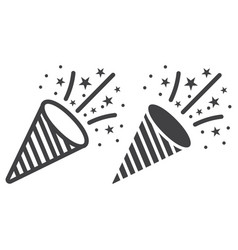 Confetti popper line and glyph icon vector